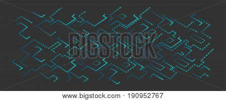 Vector blue techno background. board or microchip. Nanotechnology futuristic
