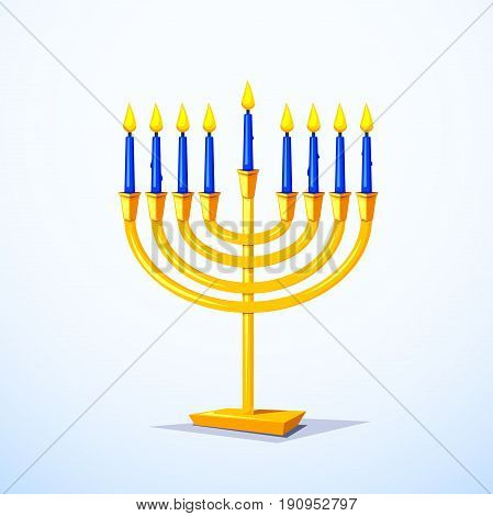 Gold colors menorah with blue candles isolated of background, vector illustration