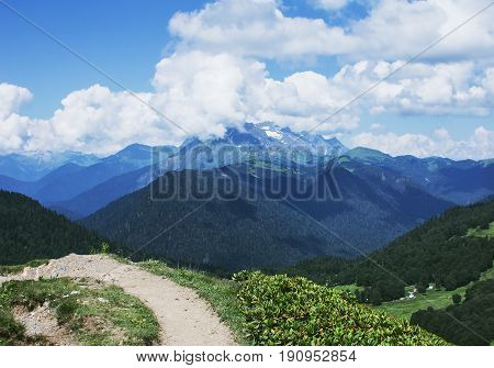 Beautiful mountains view. Landscape with alpine meadows.