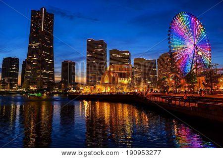 Okohama Cityscape At Night, Minato Mirai