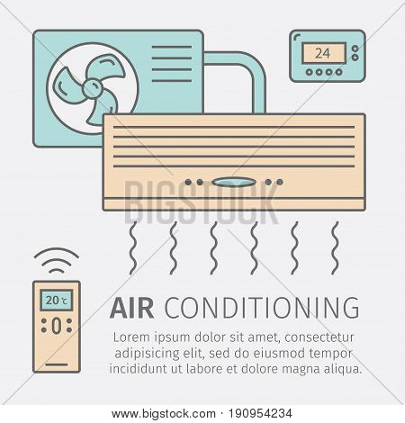 Air Conditioning Modern icon with remote controller. Vector illustration.
