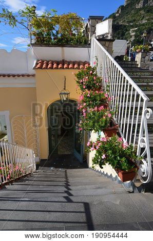 Arched doorway in the village of Positano along the Amalfi Coast in Italy.