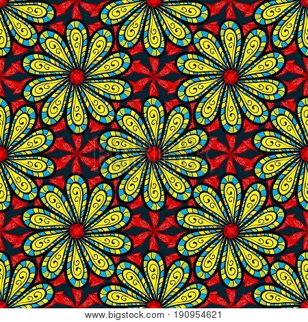 Tropical seamless pattern with many abstract flowers. Varicolored vector seamless illustration.