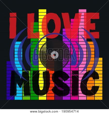 i love music typography disco t-shirt graphics ve t r image