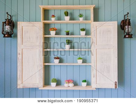 white wood shelf in front of blue wooden wall. Inside there are cactus ornamental spring flowers in pots. Beside There are ancient lamps. Can be use for decorative home concept background.