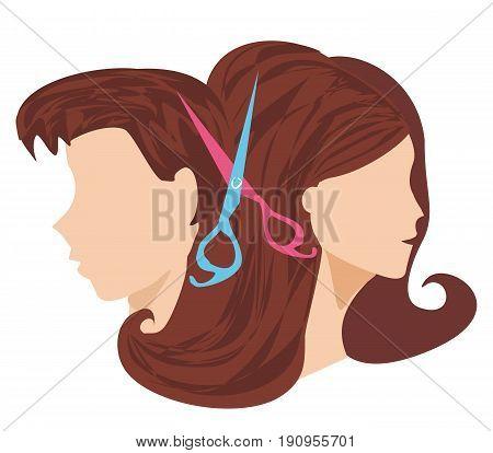 hairdressing salon -  head silhouette , icon , vector illustration