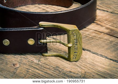 Estonia, Tallinn, March 23, 2017. Leather belt Levis