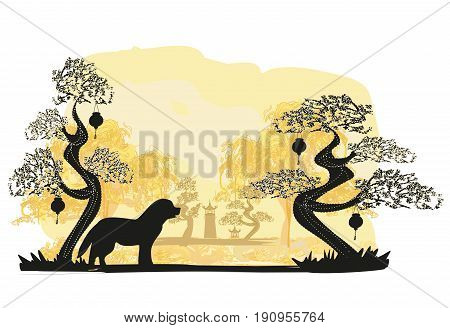 Chinese zodiac the year of Dog , vector illustration