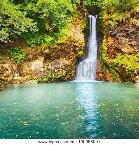 Scenic Cascade Chamouze waterfall. Mauritius island