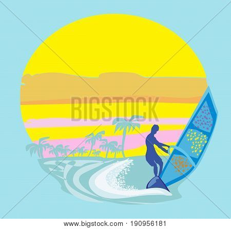 Windsurfer on the wave , vector illustration