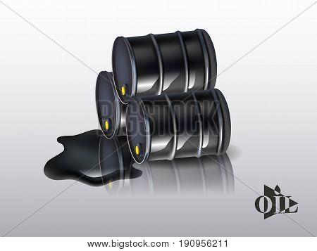 Oil barrels on a white background. vector illustration.