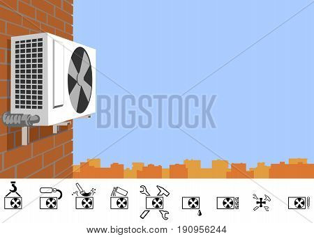 Repair of air conditioners. Outdoor unit of the air conditioner on a brick wall of a multi-storey building. The picture has the proportions of a business card.
