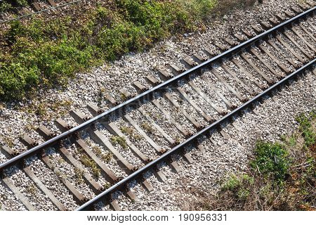 Railway Track On Gravel Substrate