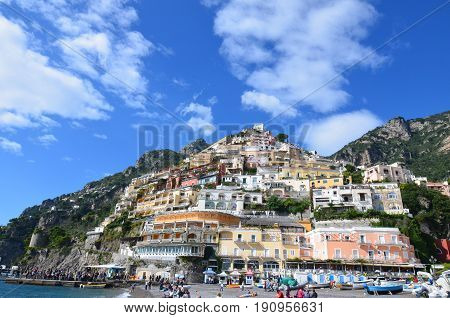 View of Positano Village along the coast of Amalfi in Italy.