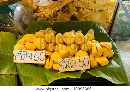 Jackfruit In Marke Thailand, The Price Tag In Thai Language Means