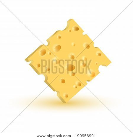 Realistic piece of cheese. Vector illustration EPS10