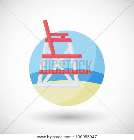 Lifeguard chair vector flat icon Flat design of swimming safety on the beach with round shadow vector illustration