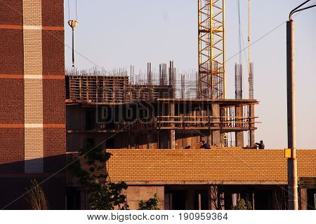 The Process Of Construction Of Multistory Monolithic Building. Concrete And Metal Frame Of Floor Sla