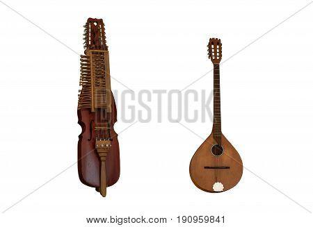 Medieval music instruments Nyckelharpa and Irish bouzouki over the white background