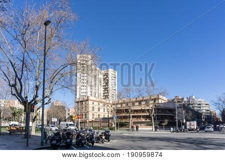 BARCELONA SPAIN - February 9, 2017: street view of Old town in Barcelona, is the capital city of the autonomous community of Catalonia in the Kingdom of Spain,February 9, 2017 in Barcelona Spain.