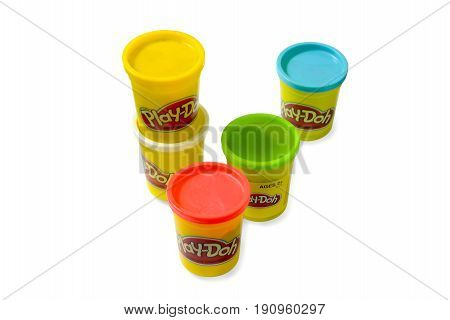 BangkokThailand-June 12th 2017:Image Set of colorful Play doh toy clay on isolated white backgrounda non-toxic modeling compound that was first marketed to schools in the mid 1950's.