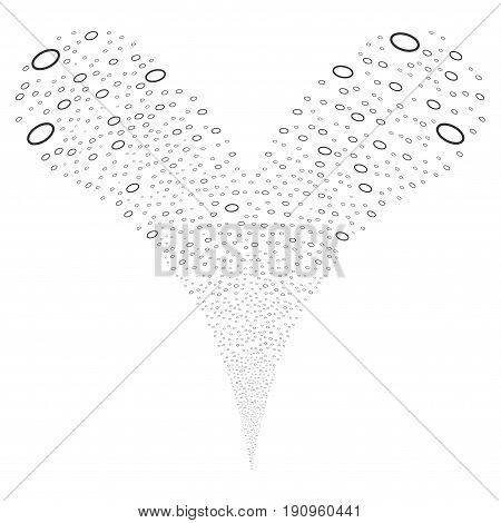 Ellipse Bubble source stream. Vector illustration style is flat gray iconic ellipse bubble symbols on a white background. Object fountain combined from random pictographs.