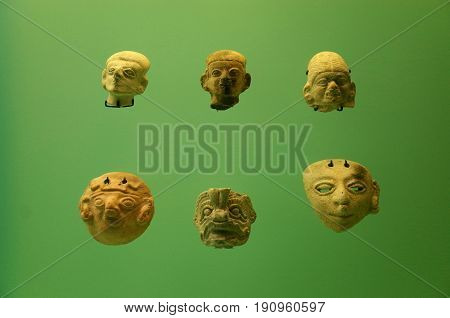 Pre Columbian indigenous pottery faces from Colombia