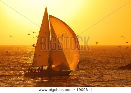 Segeln bei Sonnenuntergang