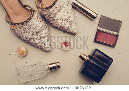 Essentials fashion woman objects on grey background