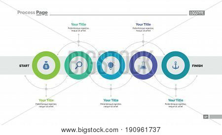 Five circles process chart slide template. Business data. Workflow, diagram, design. Creative concept for infographic, presentation, report. Can be used for topics like planning, production, research.