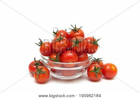 Cherry tomatoes isolated on white background. Horizontal photo.