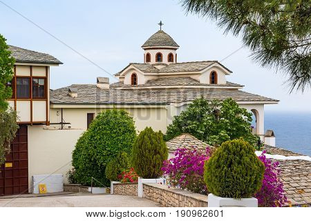 View of Monastery of Archangel Michael, Thassos island, Greece