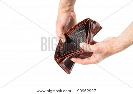 Isolated empty brown leather wallet with no money on white background