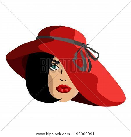 Woman in red hat stylish fashionable girl in profile fashionable make-up with make-up classic style caesual girl, vector illustration