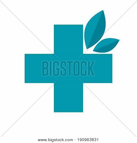 Herbal medicine concept with cross and leaves, vector illustration in flat style