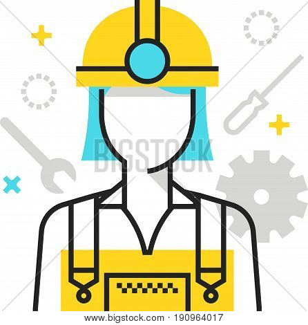 Color Box Icon, Industry Worker Illustration, Icon