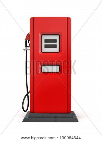 3d rendering of red gas pump in front view isolated on white background. Fuel dispenser. Fill full tank. Road trip.