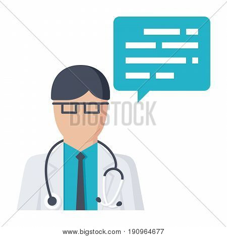 Doctor consultation concept with doctor and speech bubble, vector illustration in flat style