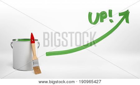 3d rendering of a full red paint bucket with a new brush leaning on it beside a green paint line with an arrow and a word 'Up'. Profitable business. Good investment. Growing market.