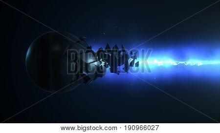 Blue Laser Destroys The Sphere 3D Illustration