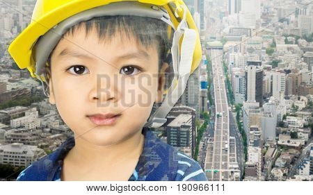little Boy dream to become Civil Engineer education concept.