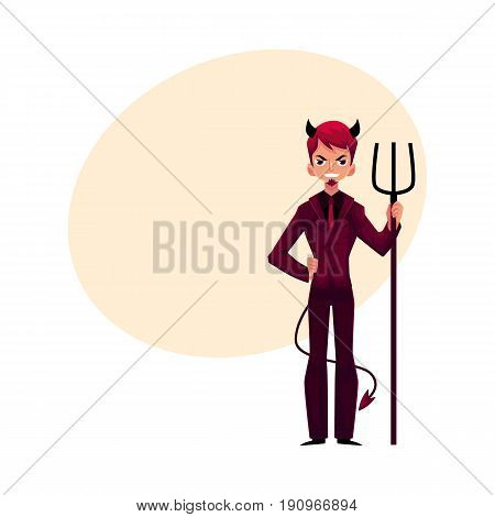 Man dressed as devil devil in business suit with horns, tail and trident, cartoon vector illustration with space for text. Male devil character, boss, Halloween costume, business decision concept