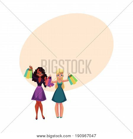 Two happy black and Caucasian women, girls, friends with shopping bags, cartoon vector illustration with space for text. Couple of girls, women with shopping bags, happy shopping concept
