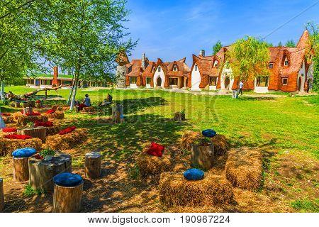 Fairytale clay castle of Porumbacu village in Sibiu Region Romania poster