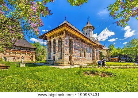 Moldovita orthodox painted church monastery Moldavia Bucovina Romania