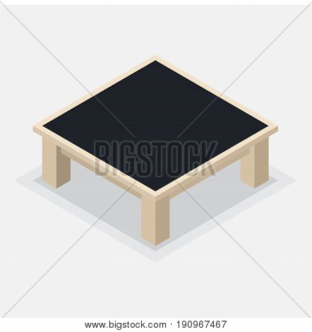 Isolated wooden Coffee Table. Square table and short legs, Isometric style on white background - Vector illustration.