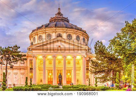 Romanian Atheneum most visited in Bucharest landmark, Romania