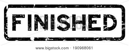 Grunge black finished square rubber seal stamp on white background