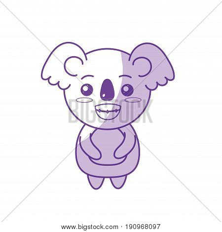 silhouette cute koala wild animal with face expression vector illustration