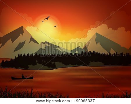 Professional fisherman sunset fishing. Vector illustration the nature mountain lake